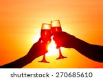 man and woman clanging wine... | Shutterstock . vector #270685610