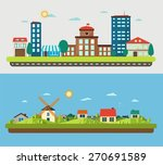 urban and village landscapes on ... | Shutterstock .eps vector #270691589