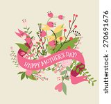 happy mother's day with floral... | Shutterstock .eps vector #270691676