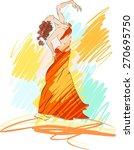 sketch of bellydancer | Shutterstock . vector #270695750