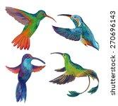 watercolor set of four colibri. ... | Shutterstock . vector #270696143