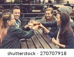 group of friends enjoying a... | Shutterstock . vector #270707918