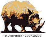 clipart vector of black rhino | Shutterstock .eps vector #270710270