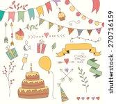 hand drawn vintage birthday... | Shutterstock .eps vector #270716159