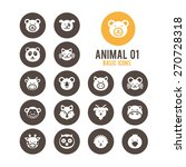 animal face icons. vector...