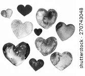 Black Watercolor Hearts...