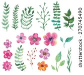watercolor decorative floral... | Shutterstock .eps vector #270745490