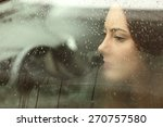 sad woman or teenager girl... | Shutterstock . vector #270757580