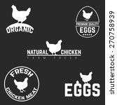 set chicken and eggs farm logo... | Shutterstock .eps vector #270758939