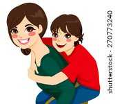 beautiful brunette young mom... | Shutterstock .eps vector #270773240