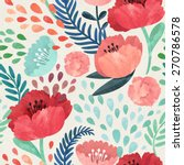 Stock photo seamless hand illustrated floral pattern on paper texture watercolor botanical background 270786578