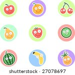 fruit character set | Shutterstock .eps vector #27078697