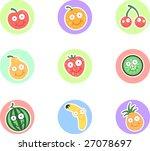 fruit character set | Shutterstock .eps vector #27078697