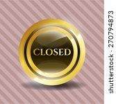 closed gold shiny badge | Shutterstock .eps vector #270794873