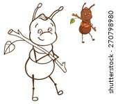 ant with branch   coloring book | Shutterstock .eps vector #270798980