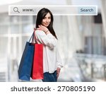 young woman holding shopping... | Shutterstock . vector #270805190
