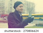 traveling man with mobile phone ... | Shutterstock . vector #270806624