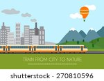 train on railway with forest... | Shutterstock .eps vector #270810596