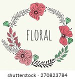 watercolor flowers wreath. hand ... | Shutterstock . vector #270823784