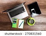 office desk with laptop... | Shutterstock . vector #270831560