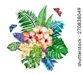 large tropical bouquet of vivid ... | Shutterstock . vector #270838049