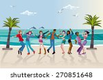group of happy young people... | Shutterstock .eps vector #270851648