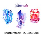 watercolor gems and minerals | Shutterstock . vector #270858908