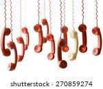 one yellow handset in between... | Shutterstock . vector #270859274