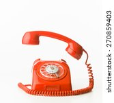 closeup of red vintage phone... | Shutterstock . vector #270859403