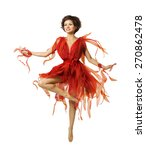 Small photo of Woman Artist Dancing in Red Dress, Modern Ballet Dance, Tiptoe Dancer Girl Jumping Isolated Over White