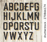 retro styled alphabet on wooden ... | Shutterstock .eps vector #270866174
