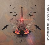 the eiffel tower with flower... | Shutterstock . vector #270871073
