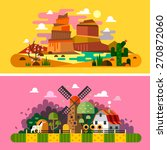 village sunset landscapes ... | Shutterstock .eps vector #270872060