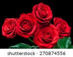 Stock photo floral background bouquet of beautiful ruby red roses on black wallpaper greeting card 270874556