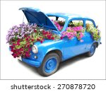 Blue Car With Flowers.