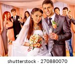 happy wedding couple and guests ... | Shutterstock . vector #270880070