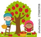 Kids Harvesting Apples. Vector...