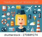 set of modern travel flat... | Shutterstock . vector #270889274
