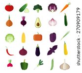 Set Of Vegetables Flat Icons.