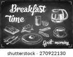 vector hand drawn breakfast and ... | Shutterstock .eps vector #270922130