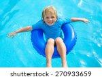 happy little boy  with blue... | Shutterstock . vector #270933659
