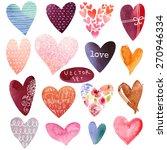set of watercolor hearts.... | Shutterstock .eps vector #270946334