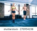 muscular man and beautiful... | Shutterstock . vector #270954158
