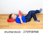 little boy looking at touch pad ... | Shutterstock . vector #270958988