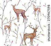 Watercolor Deers In Forest...