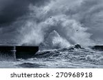 Big Stormy Waves Against Pier...