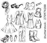 set of clothes for women. pen... | Shutterstock .eps vector #270974288