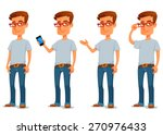 funny cartoon guy in casual... | Shutterstock .eps vector #270976433