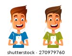 funny cartoon guy listening to... | Shutterstock .eps vector #270979760