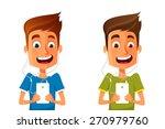 funny cartoon guy listening to...   Shutterstock .eps vector #270979760